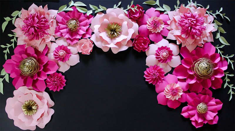 Backdrop hoa giấy Hà Nội đẹp lung linh