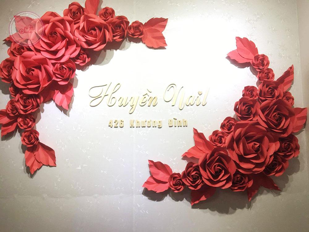 Cụm hoa giấy trang trí shop nail