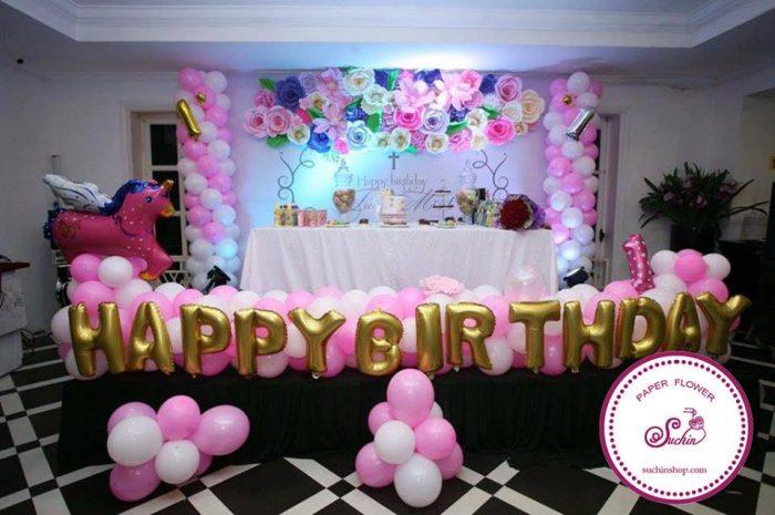 mẫu backdrop hoa giấy sinh nhật đẹp