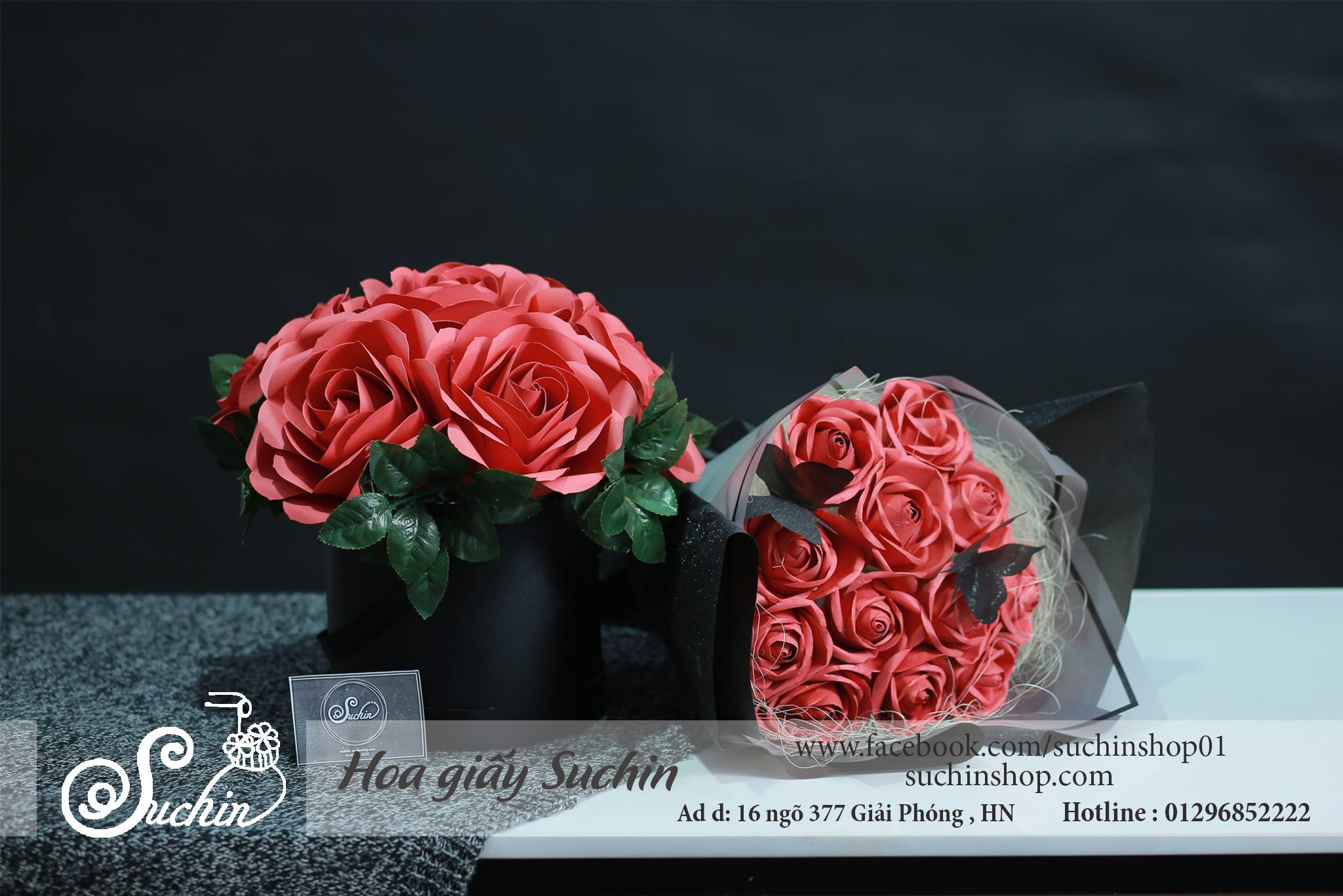 Quà tặng hộp hoa giấy và bó hoa giấy tông đỏ