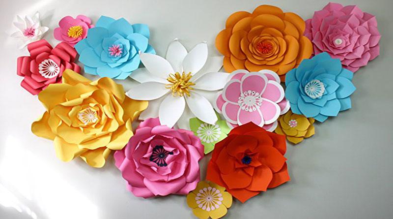 Dạy làm hoa giấy gắn backdrop đẹp
