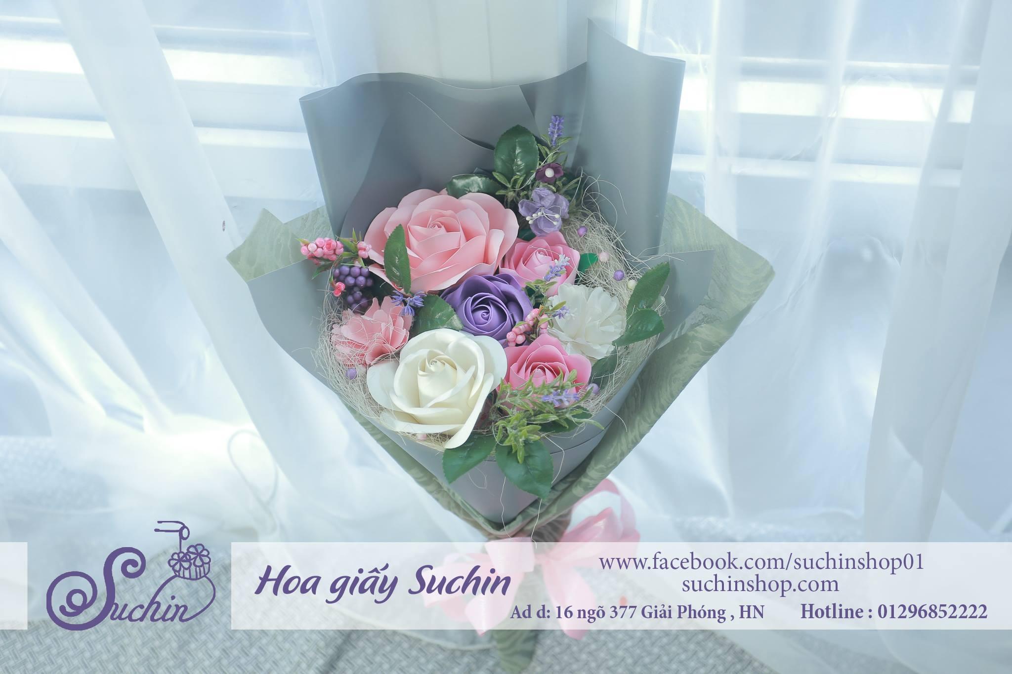 Bó hoa màu ghi hồng-HB04