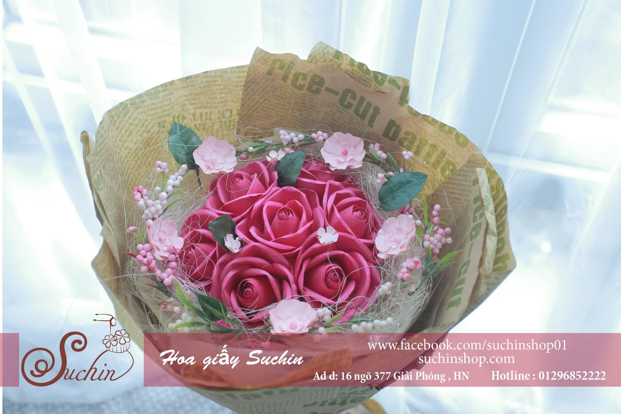 Bó hoa giấy tone màu hồng sen