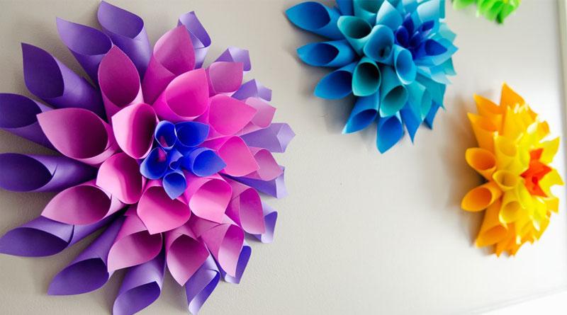 Hoa giấy treo tường, hoa giấy trang trí sang trọng