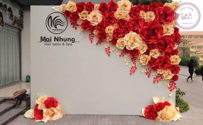 backdrop đám cưới hoa giấy 1