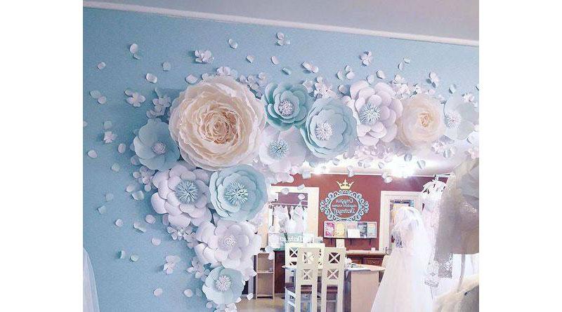 Tự làm hoa giấy trang trí phông cưới HN