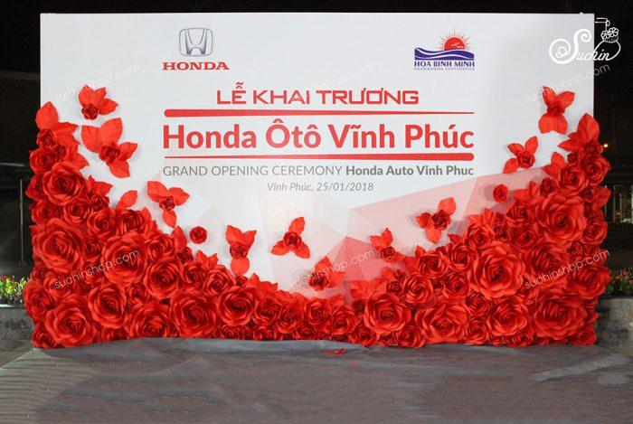 Backdrop hoa giấy trang trí lễ khai trương Honda Ôtô Vĩnh Phúc