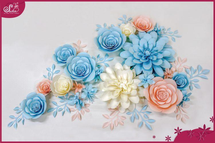 Cụm hoa trang trí tone Hồng Xanh