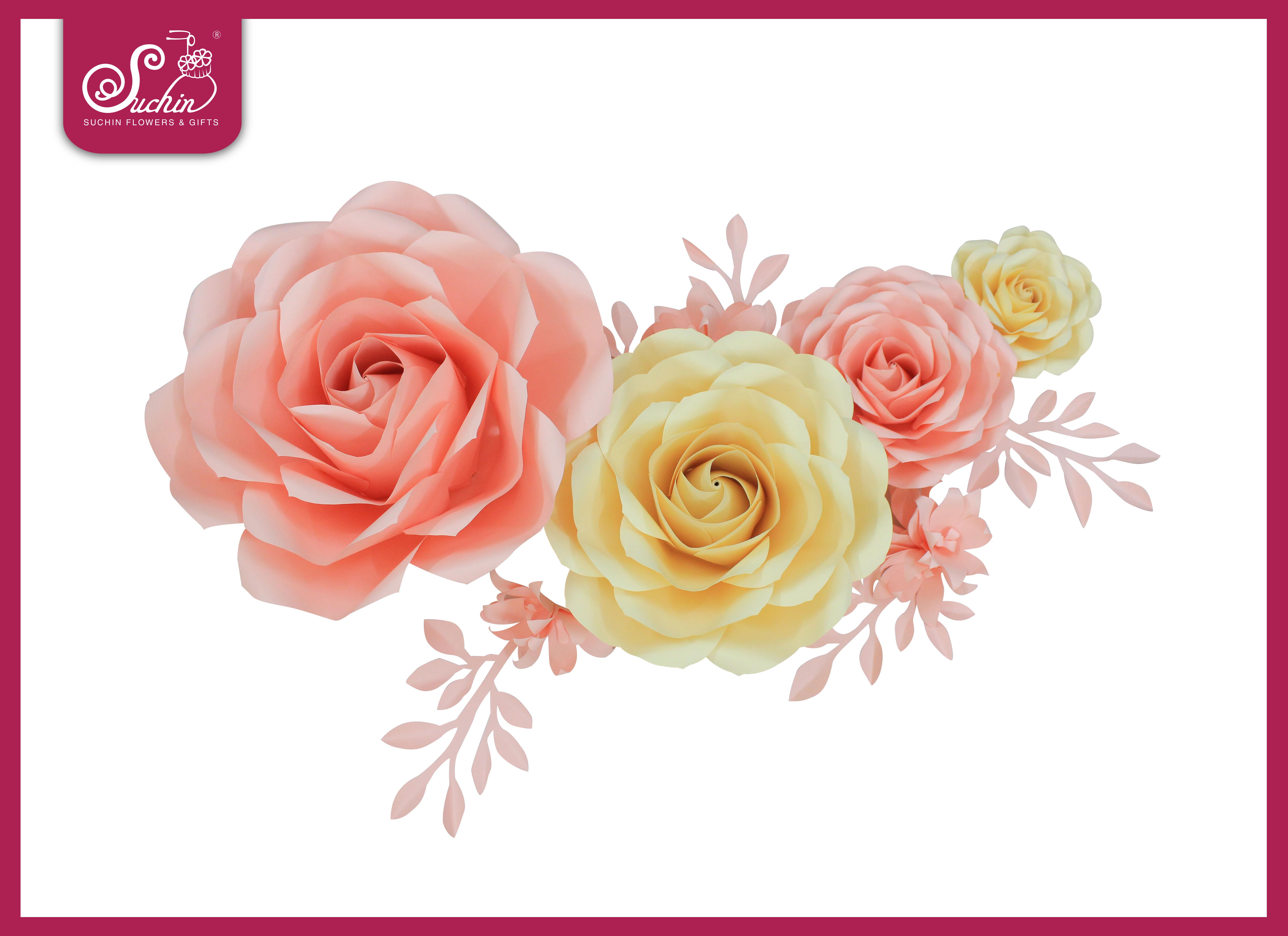 Set hoa trang trí tone Hồng – Kem 04