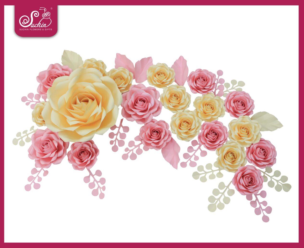 Set hoa trang trí tone Hồng – Kem 01