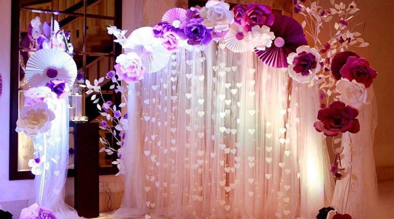 Làm backdrop đám cưới hoa giấy đẹp tại HN