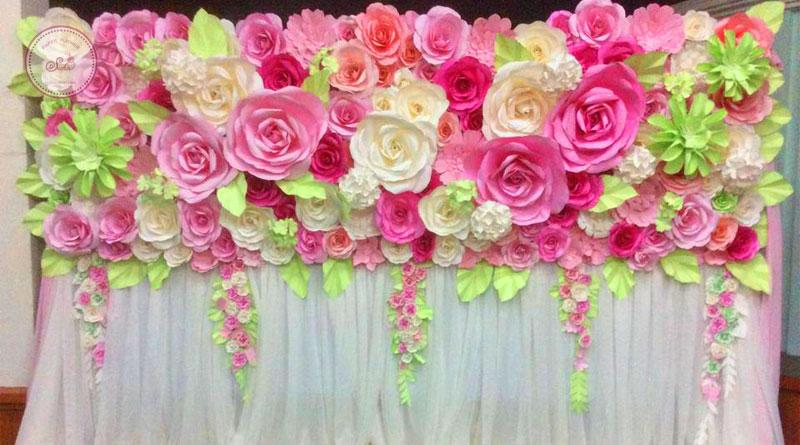Backdrop hoa giấy trang trí ngày lễ 20-10