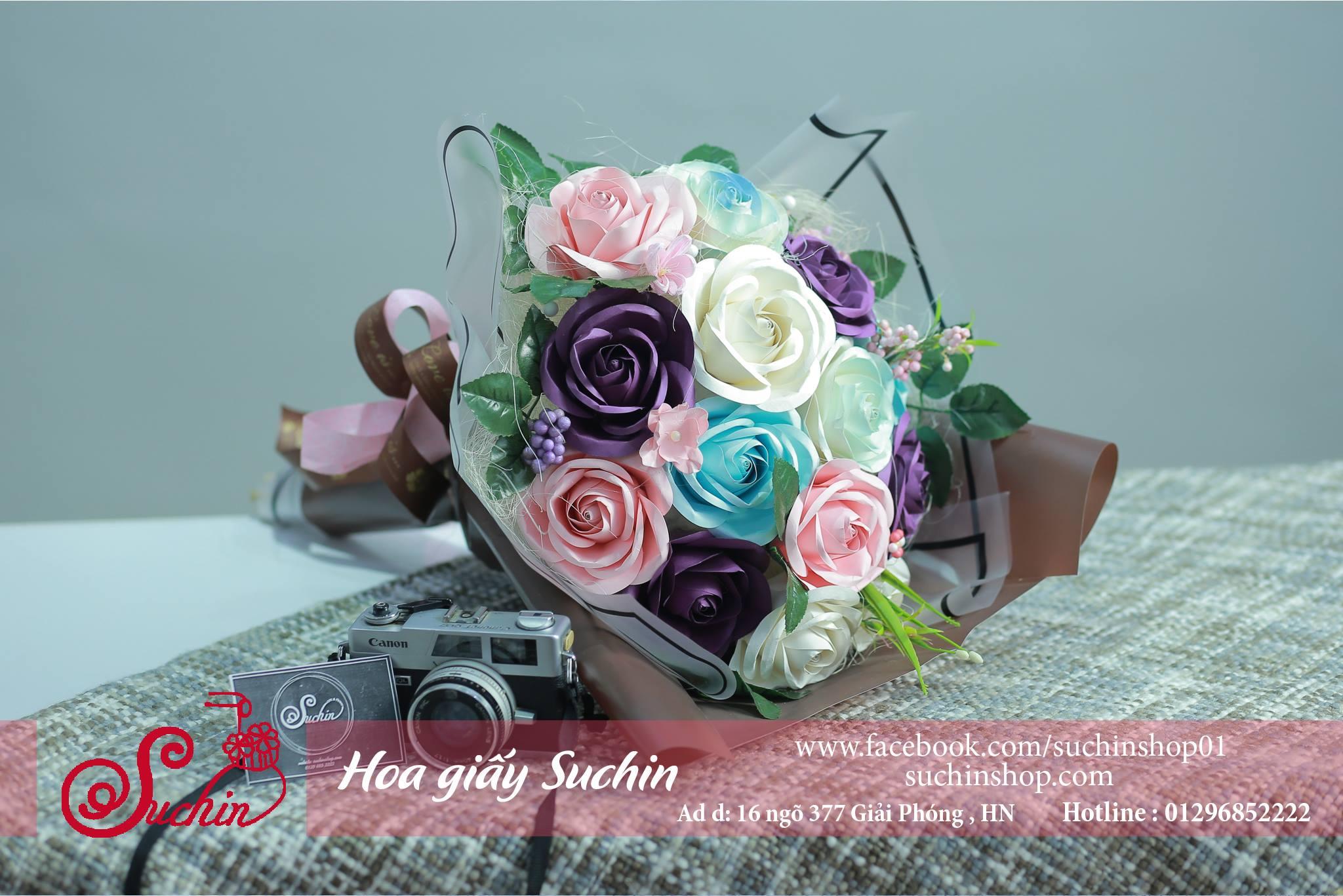 Bó hoa giấy màu nâu hồng-HB05