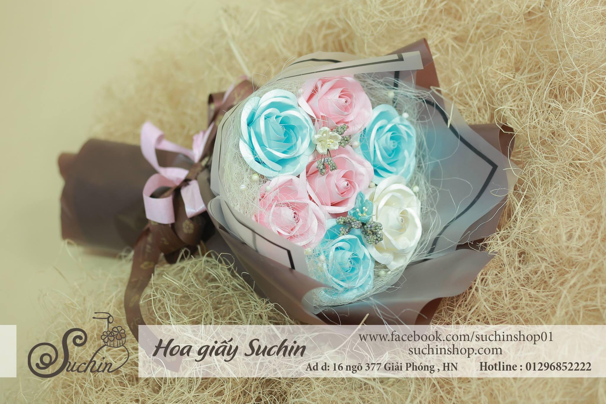 Bó hoa giấy tone màu xanh hồng