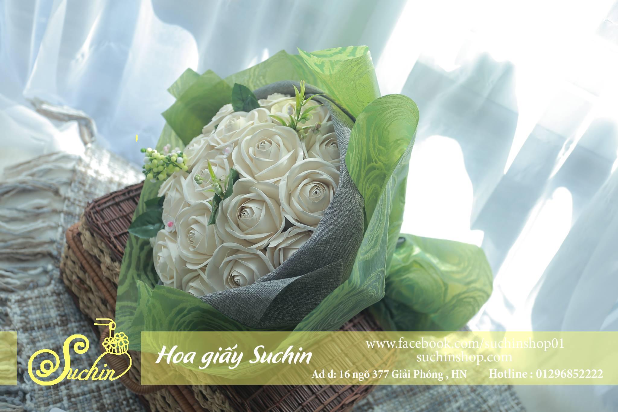 Bó hoa giấy gói xanh-HB03