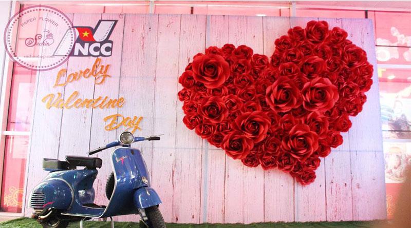 Backdrop đẹp, backdrop hoa giấy Suchin
