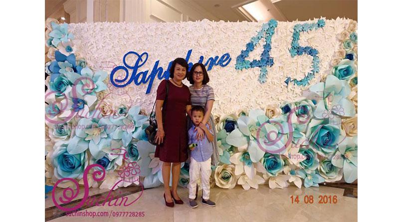 Làm hoa giấy trang trí backdrop tại Hà Nội