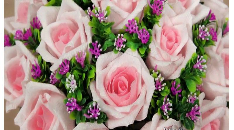 Làm hoa hồng từ giấy nhún đơn giản cho nàng