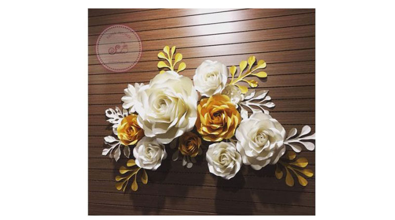 Set hoa giấy trang trí vàng nhũ – kem nhạt