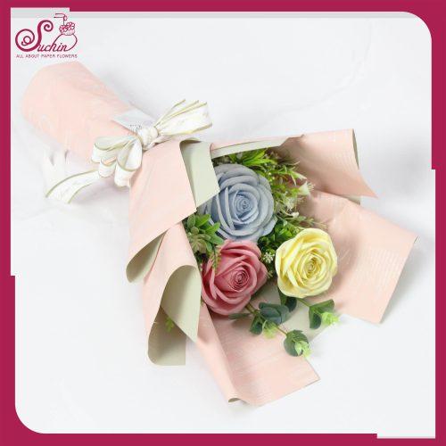 Bó 3 bông tone xanh hồng