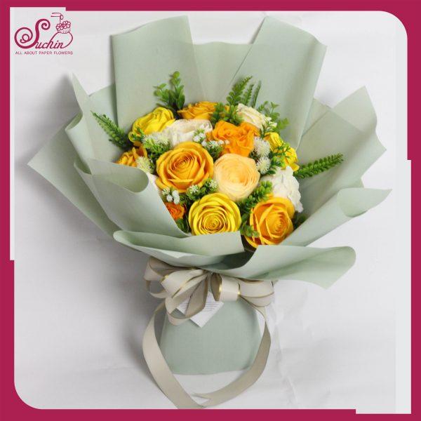 bó hoa hồng bằng giấy nhún