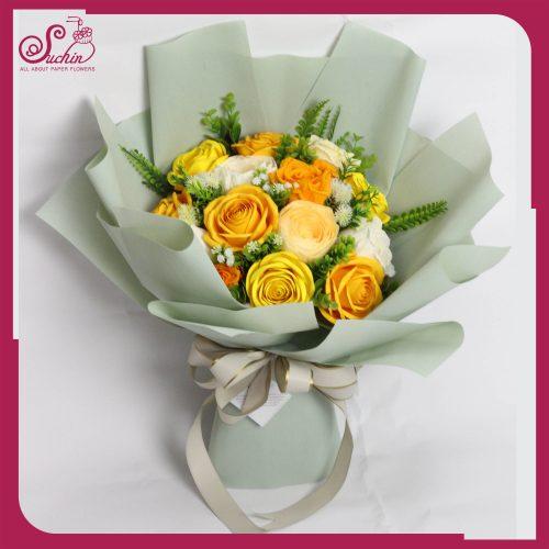 Bó hoa giấy kiểu Hàn Quốc Tone màu vàng