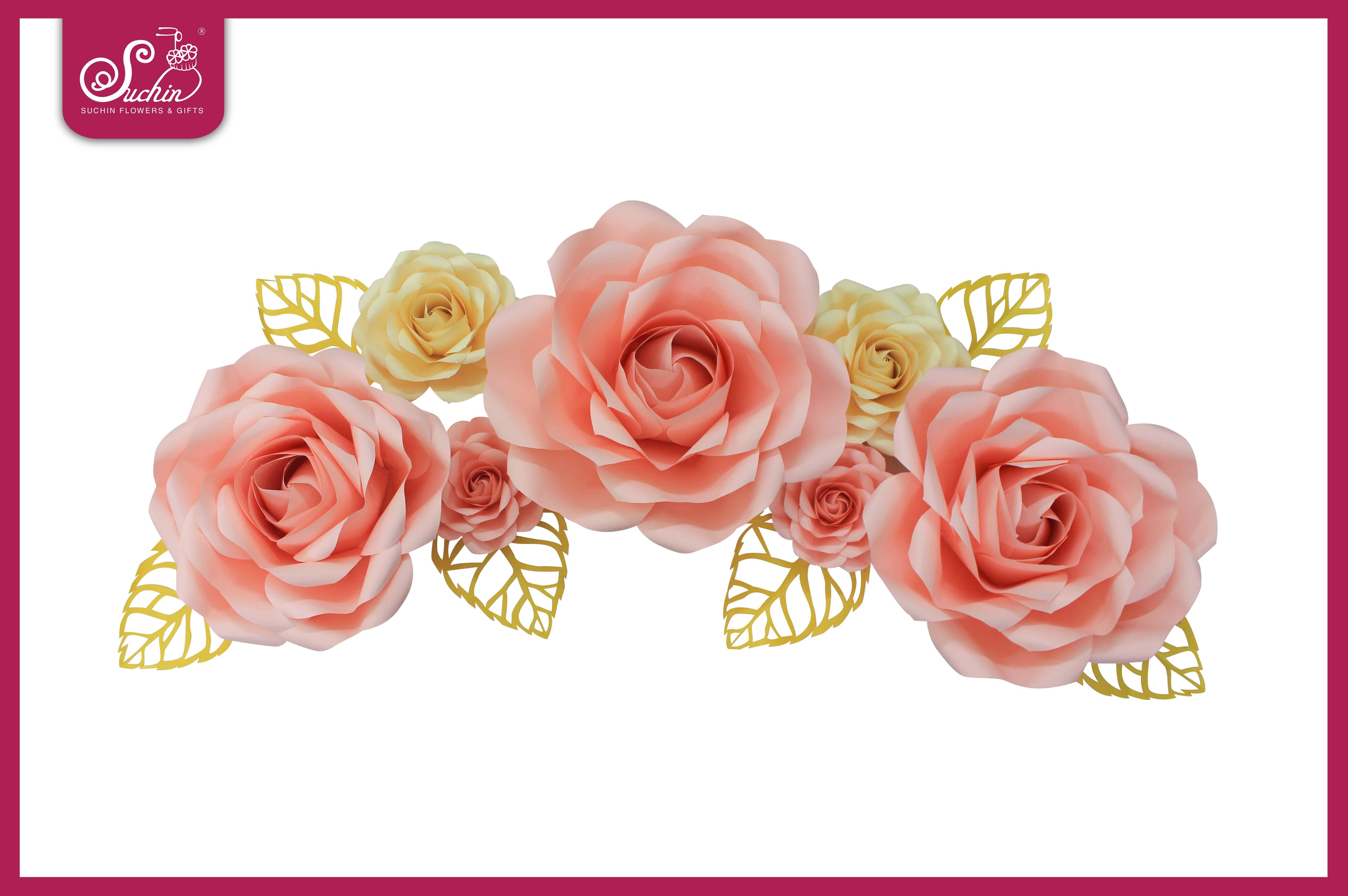 Set hoa giấy trang trí tone Hồng – Kem 03