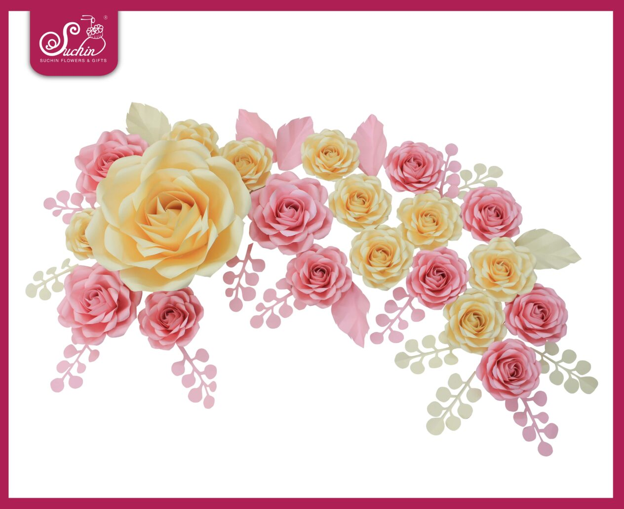 Set hoa giấy trang trí tone Hồng – Kem 01