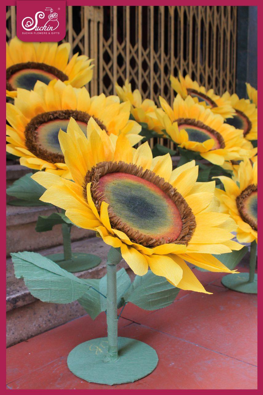 Cây hoa hướng dương chất liệu giấy nhún Ý cao cấp