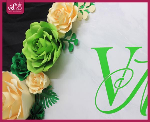 Set hoa giấy trang trí tone xanh kem