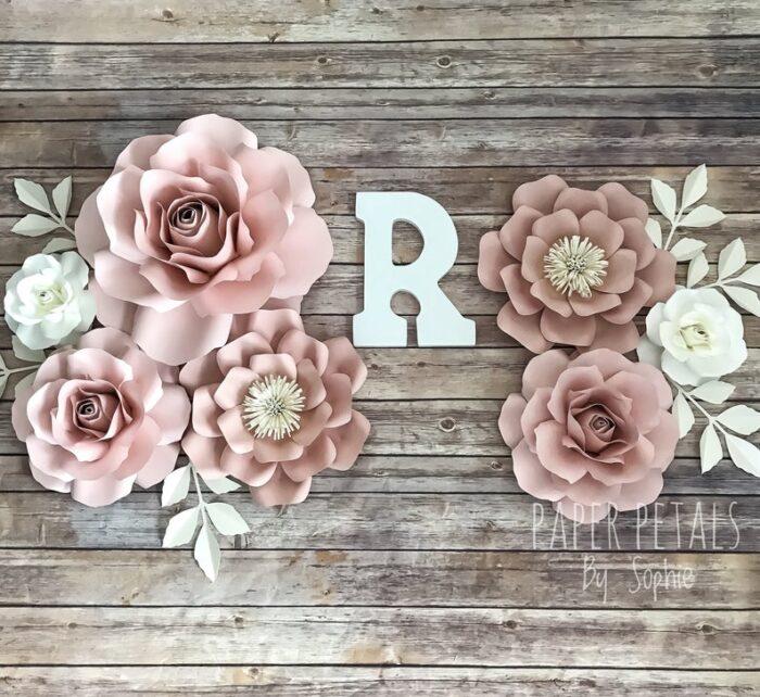 Cụm hoa giấy trang trí tone hồng