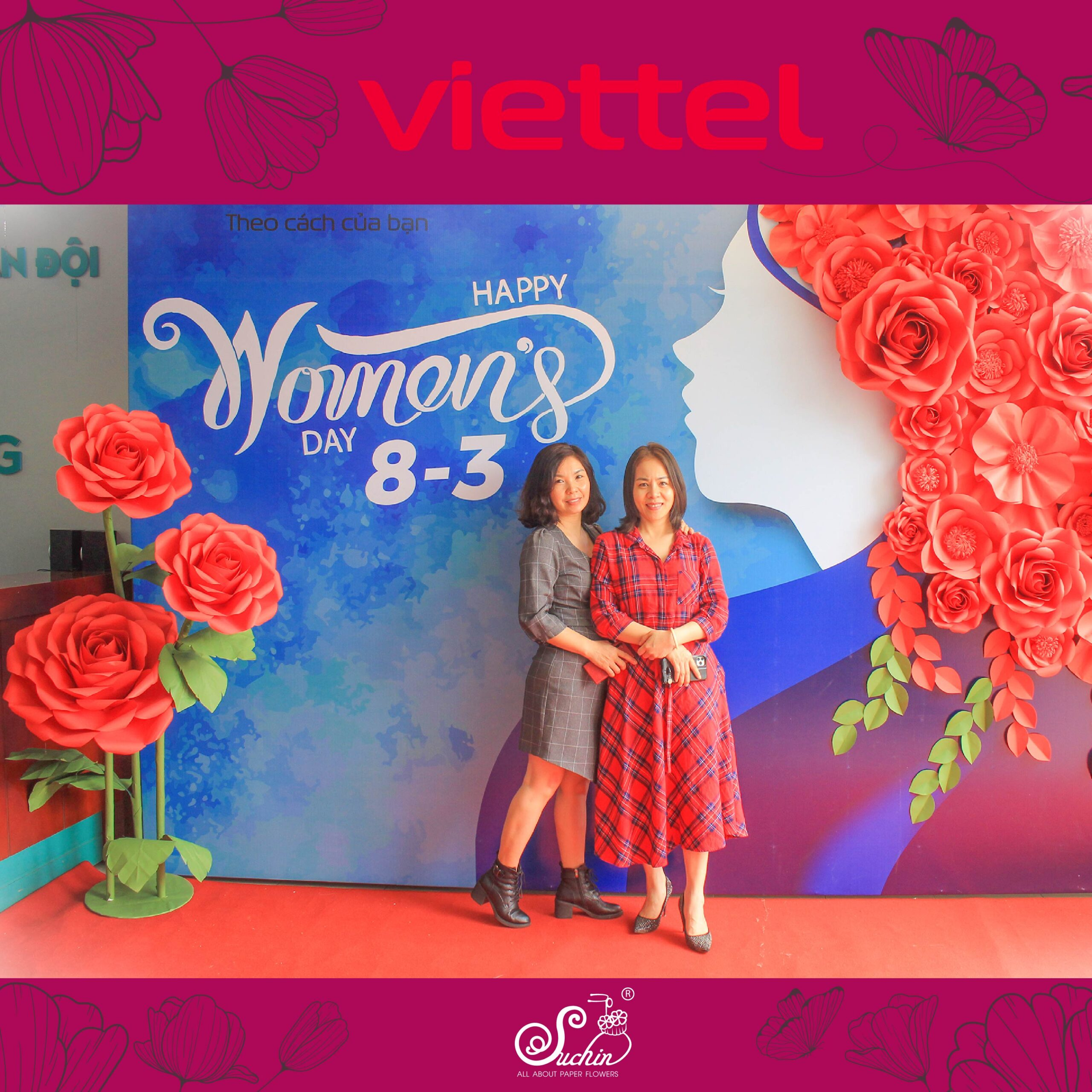 Viettel Phạm Văn Đồng – Backdrop hoa giấy trang trí 8/3