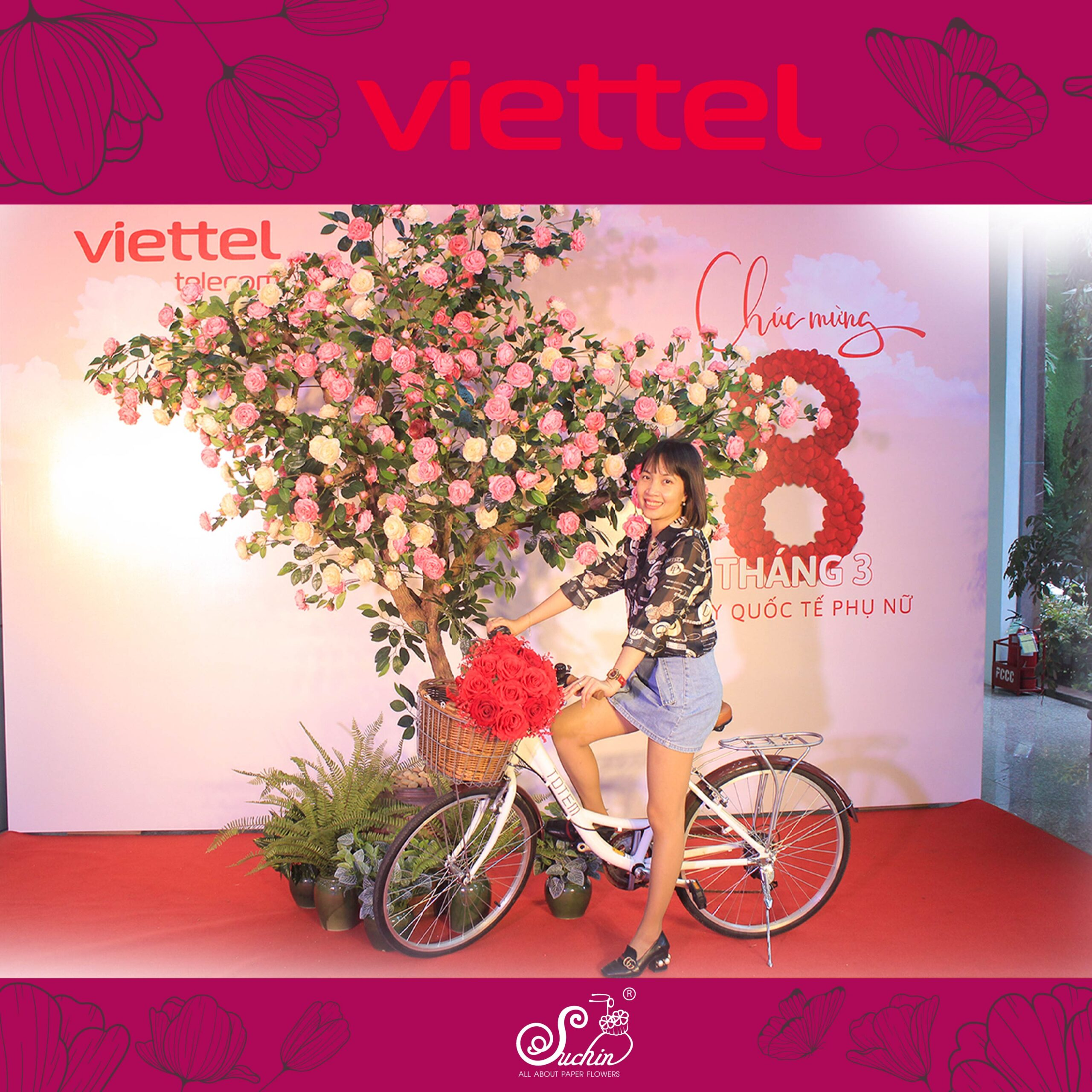 Viettel Giang Văn Minh – Backdrop hoa giấy trang trí 8/3