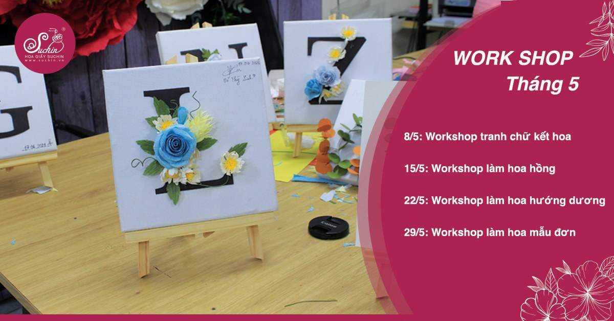 Workshop học làm hoa decor tên cá nhân