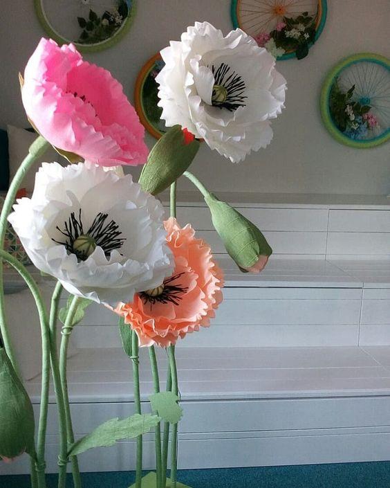 Cách làm hoa anh túc khổng lồ trang trí sự kiện